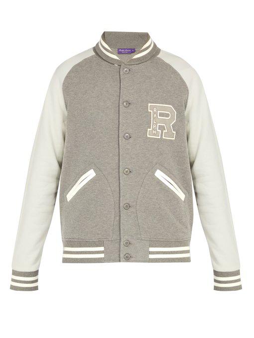 146f1b199 Logo-Appliquéd Cotton-Blend Jersey Bomber Jacket - Gray in Grey