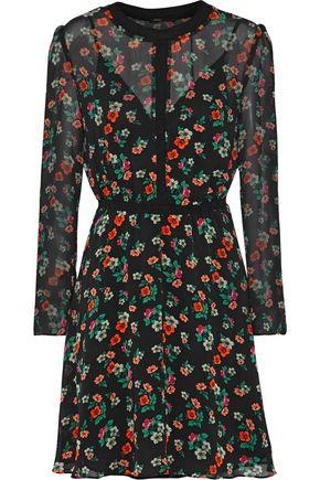 Black Mini Print Rayon In Dress Floral Chiffon 8wn0XkOP