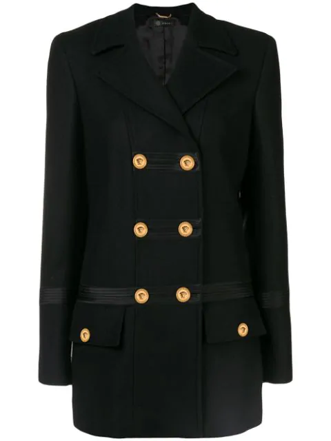 Versace Double Breasted Peacoat - Black