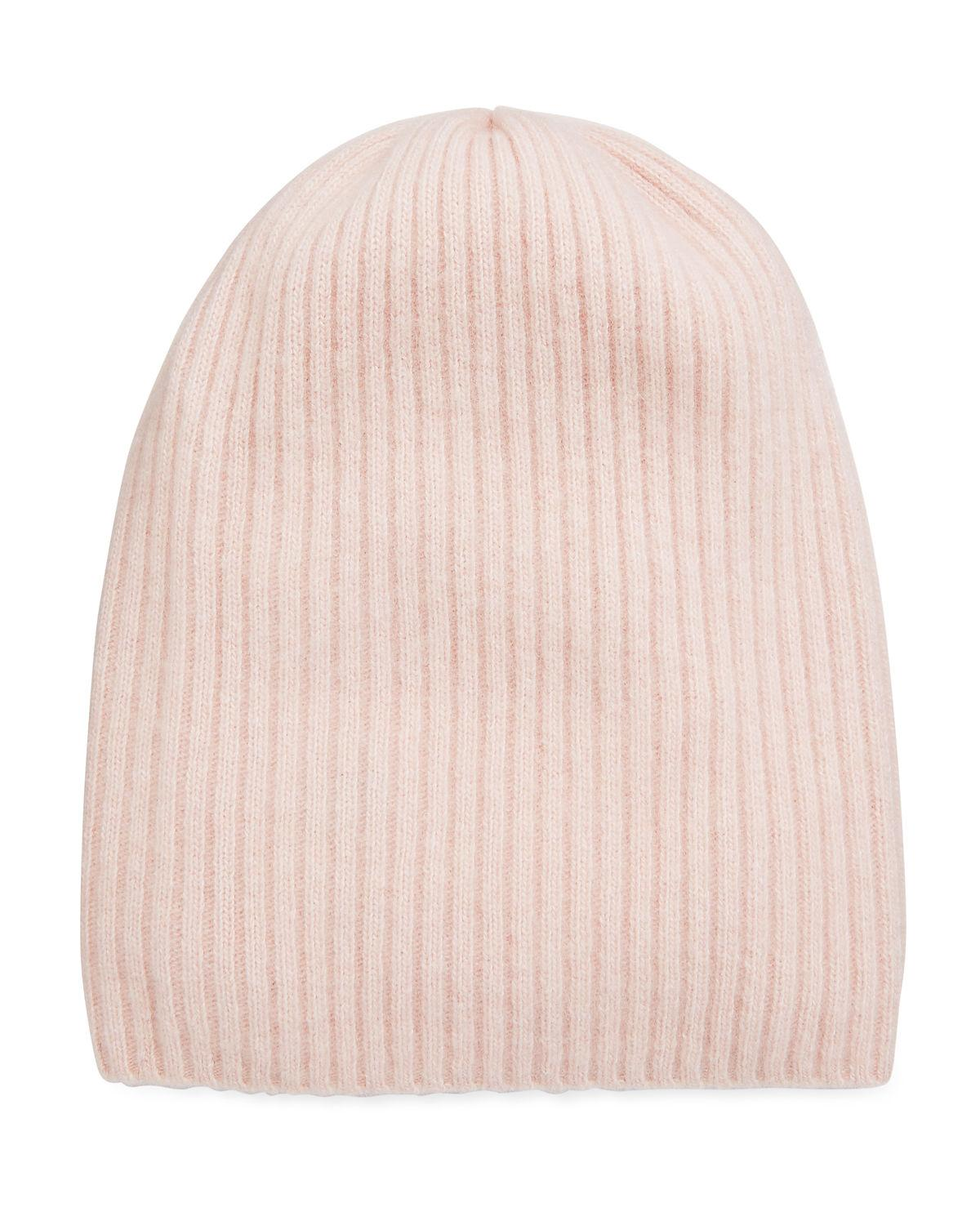 909a49c4ef7 Portolano Cashmere Ribbed Slouchy Beanie In Rose Coral