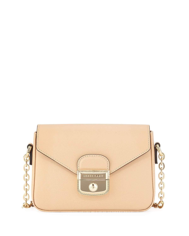 c17ef9275480 Longchamp Le Pliage Heritage Mini Leather Crossbody Bag In Beige ...