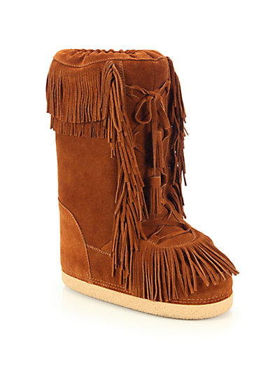 Aquazzura Woman Boho Karlie Shearling-Lined Fringed Suede Boots Tan In Brown