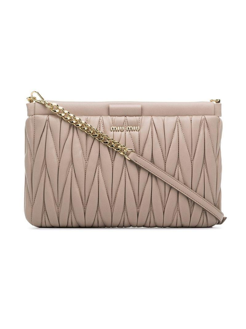 71f586163652 Miu Miu MatelassÉ Leather Clutch Bag In Neutrals