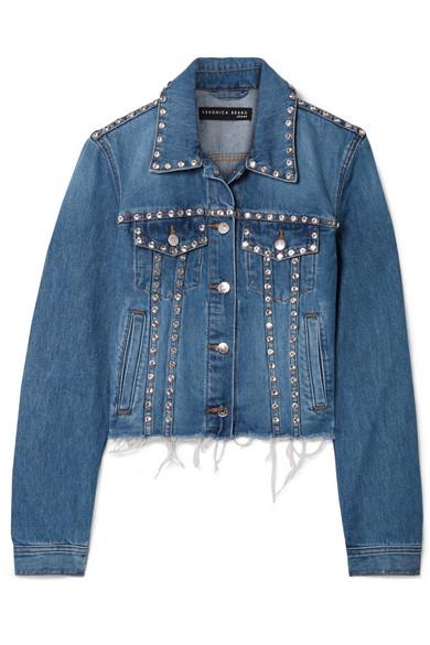 6d63517b255c Veronica Beard Cara Cropped Crystal-Embellished Frayed Denim Jacket In  Light Denim