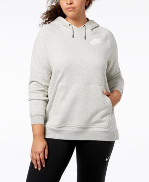Nike Plus Size Sportswear Rally Fleece Hoodie In Grey Heather White