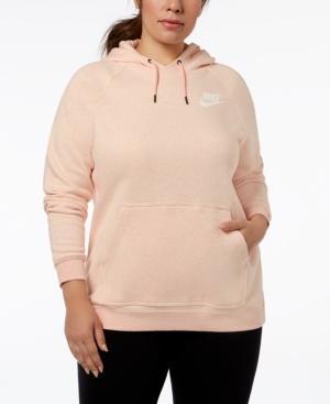 Nike Plus Size Sportswear Rally Fleece Hoodie In Storm Pink/White