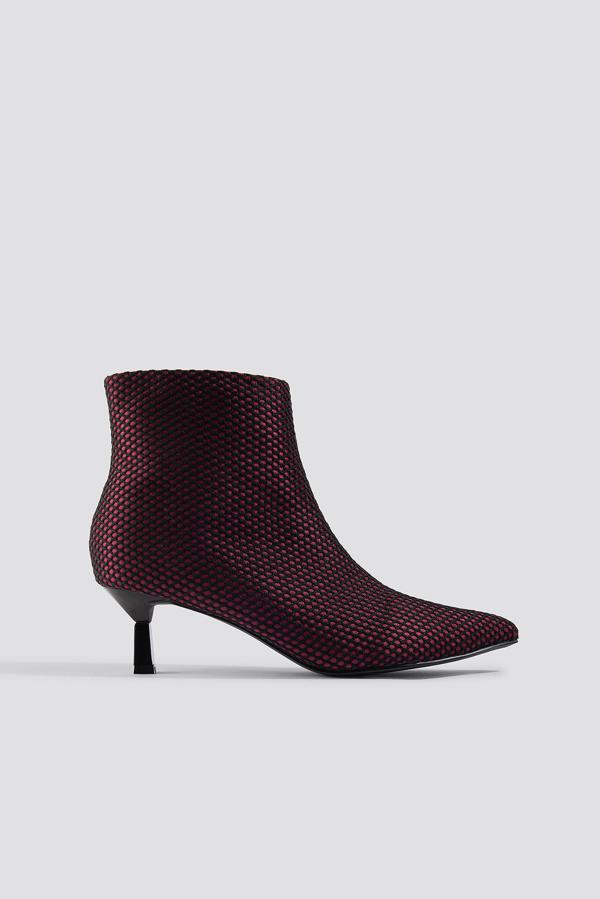 Na-kd Net Kitten Heel Boots Red In Burgundy