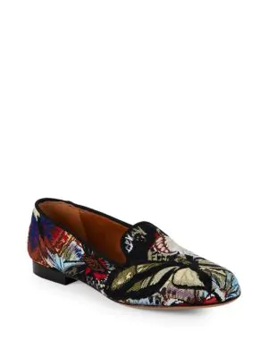Valentino Embroidered Leather Loafers In Multi