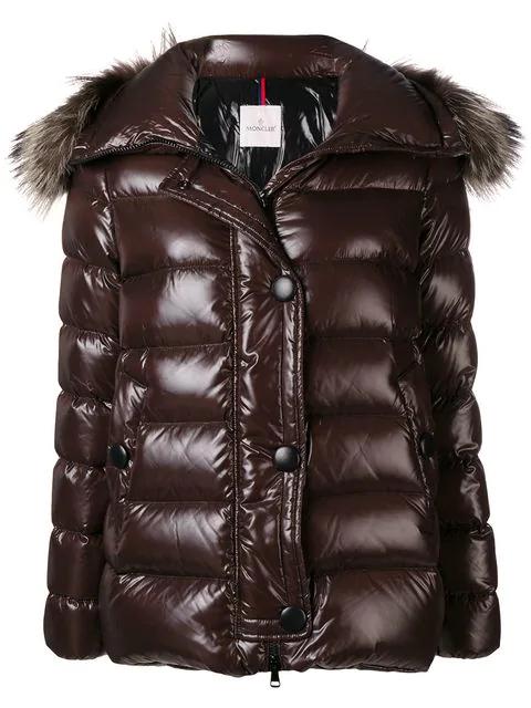 6bf1debc9 Moncler Fox Fur Trim Puffer Jacket - Black