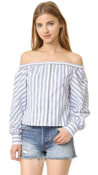 Elle Sasson Leandrea Cotton Off-the-shoulder Blouse In Blue Stripe