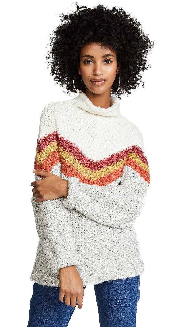 Free People Turn Around Striped Cotton-blend Jumper In Ivory Combo