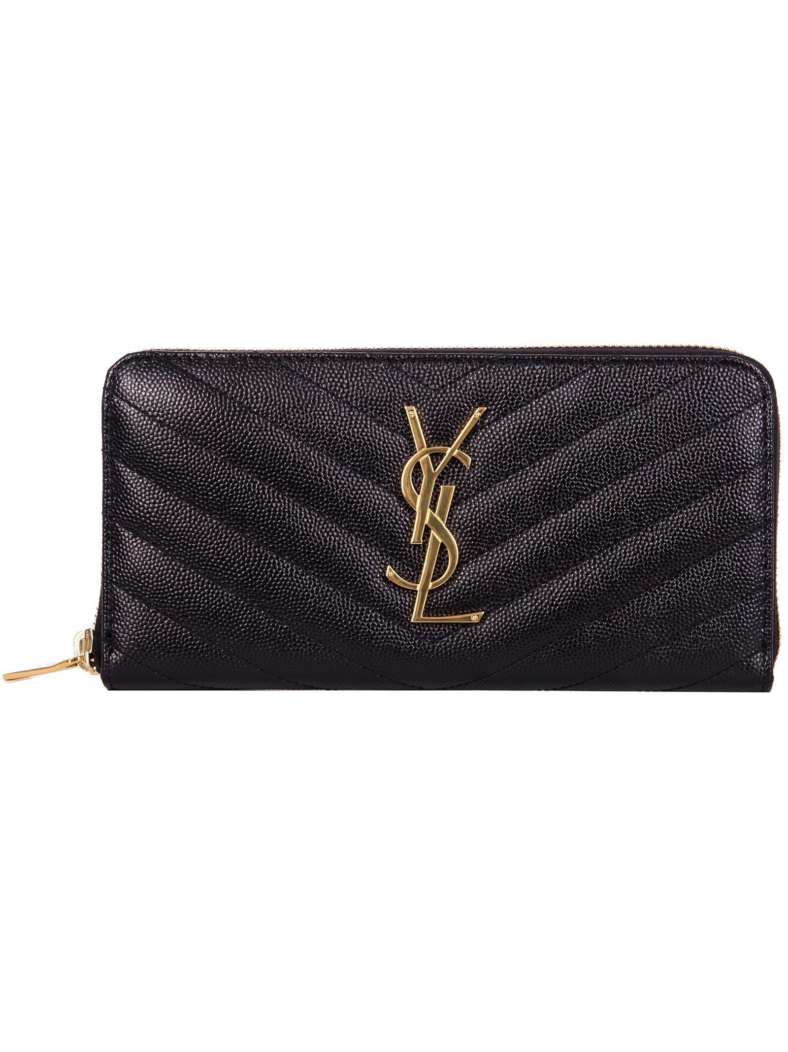 0ba14d75bd3 Saint Laurent Ysl Zip-Around Wallet In Black In Nero | ModeSens