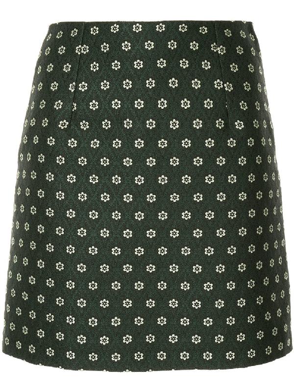 c9cea4082a67af Alexa Chung Floral-Jacquard Mini Skirt In Green   ModeSens