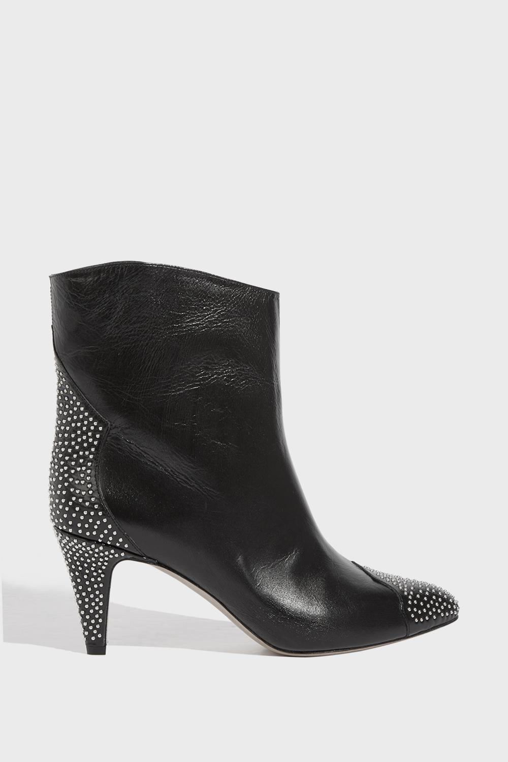 2a1e631485a Stud-Embellished Mid-Heel Boots in Black