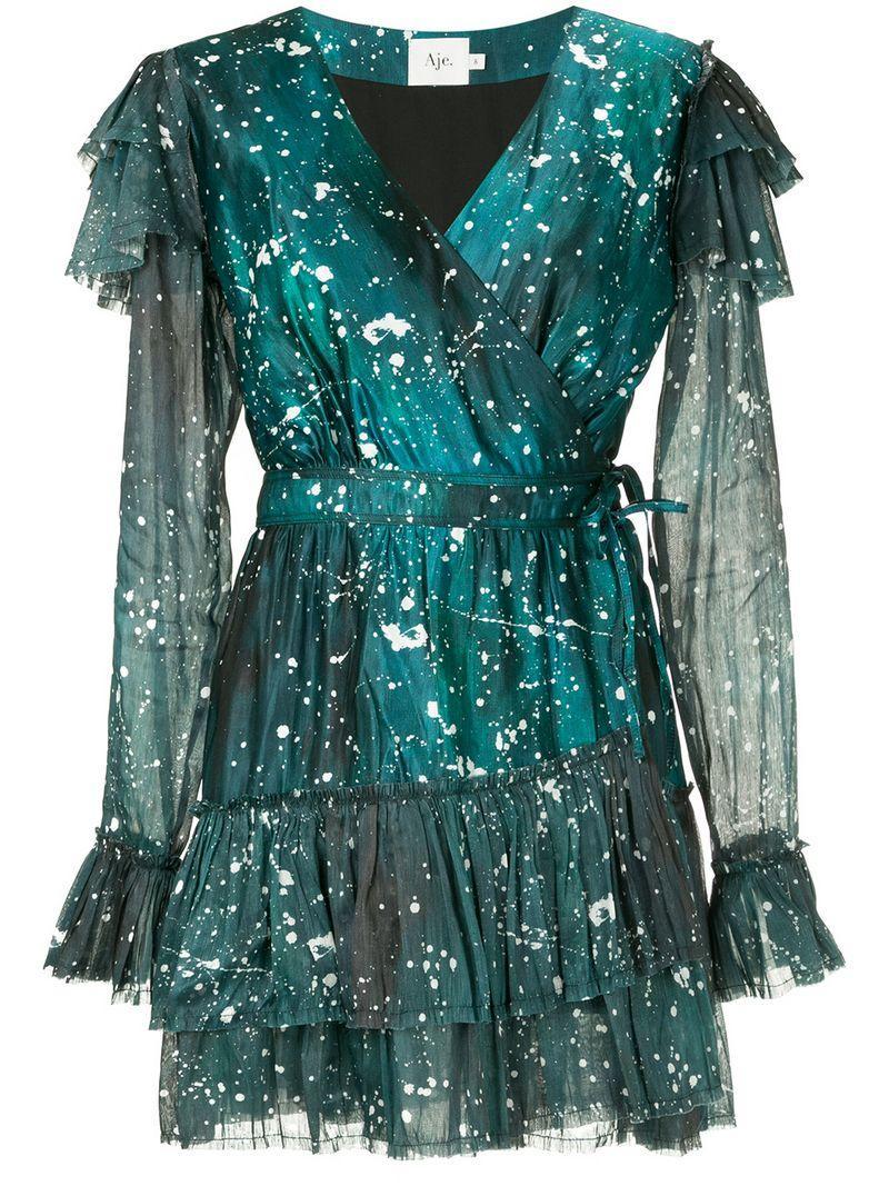 Aje Sorocco Printed Ruffle Dress - Green
