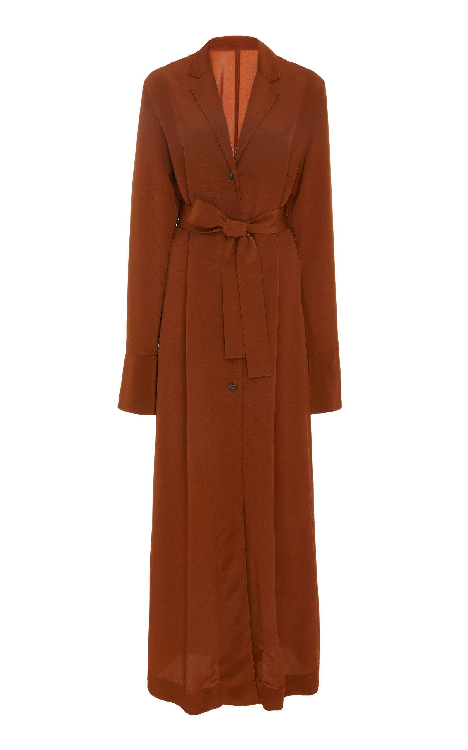 Bouguessa Crepe Belted Long Jacket In Brown