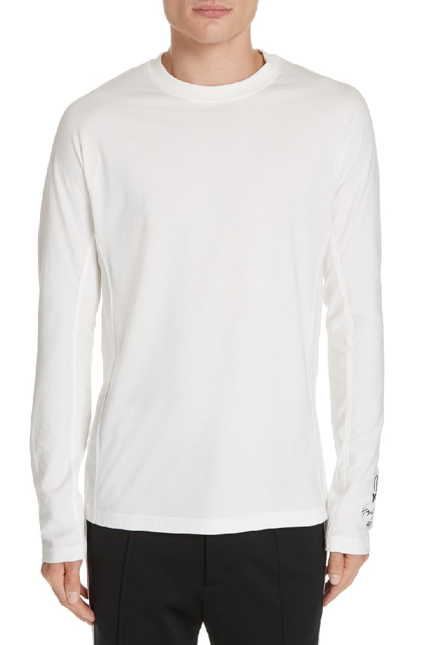 4069c15ab Y-3 Logo Long Sleeve T-Shirt In Core White