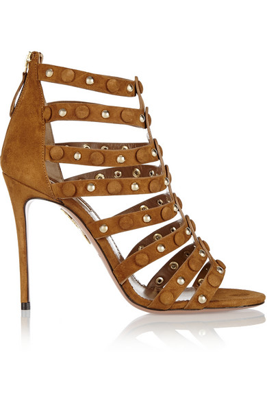 Aquazzura Woman Very Wild Studded Suede Sandals Tan In Brown