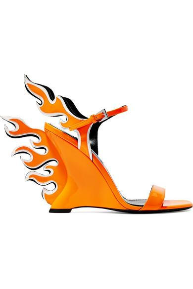 Prada Neon Patent-Leather Wedge Sandals In Bright Orange