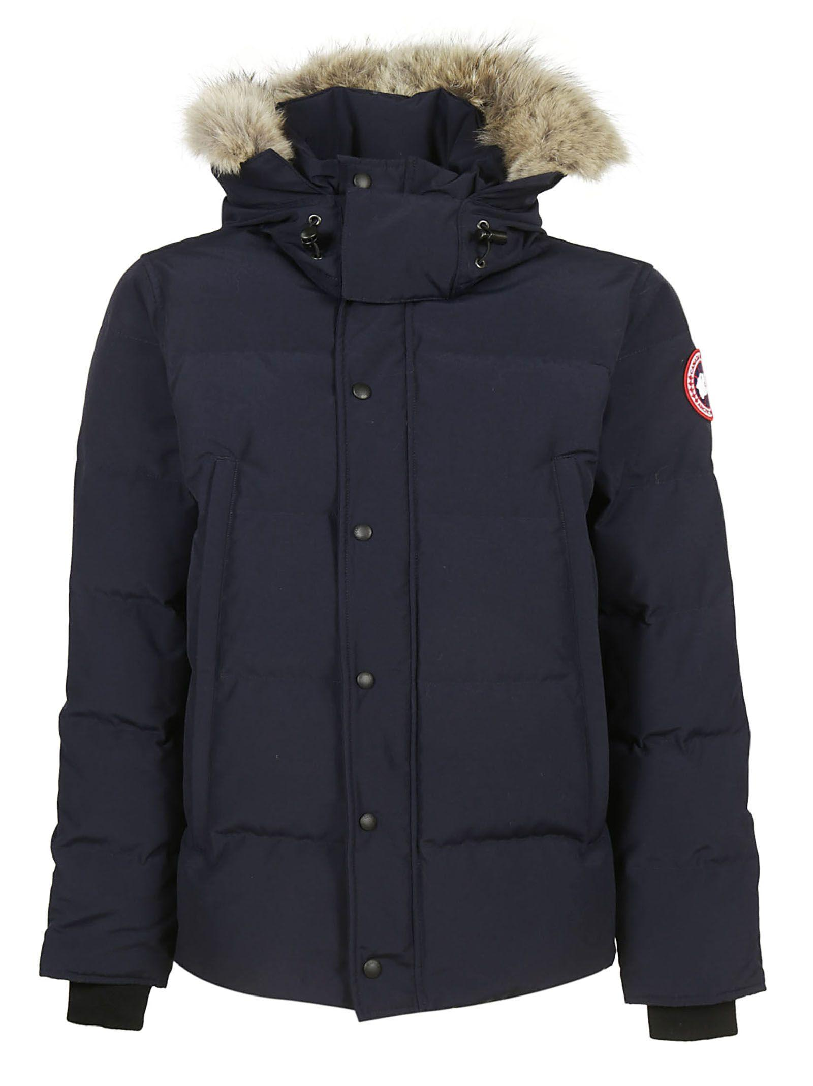Canada Goose Fur Trimmed Padded Jacket In Blu