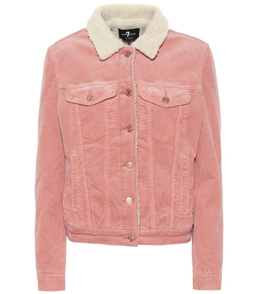 7 For All Mankind Modern Trucker Corduroy Jacket In Pink