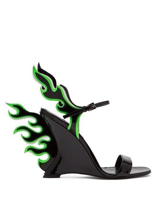 Prada Flame Patent-Leather Sandals In Black