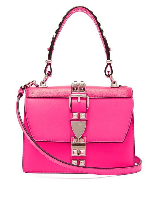 eebf0dacce6a Prada Elektra Studded Leather Shoulder Bag In Pink