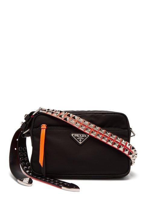 758070ca576e Prada - Stud Embellished Nylon Cross Body Bag - Womens - Black Orange