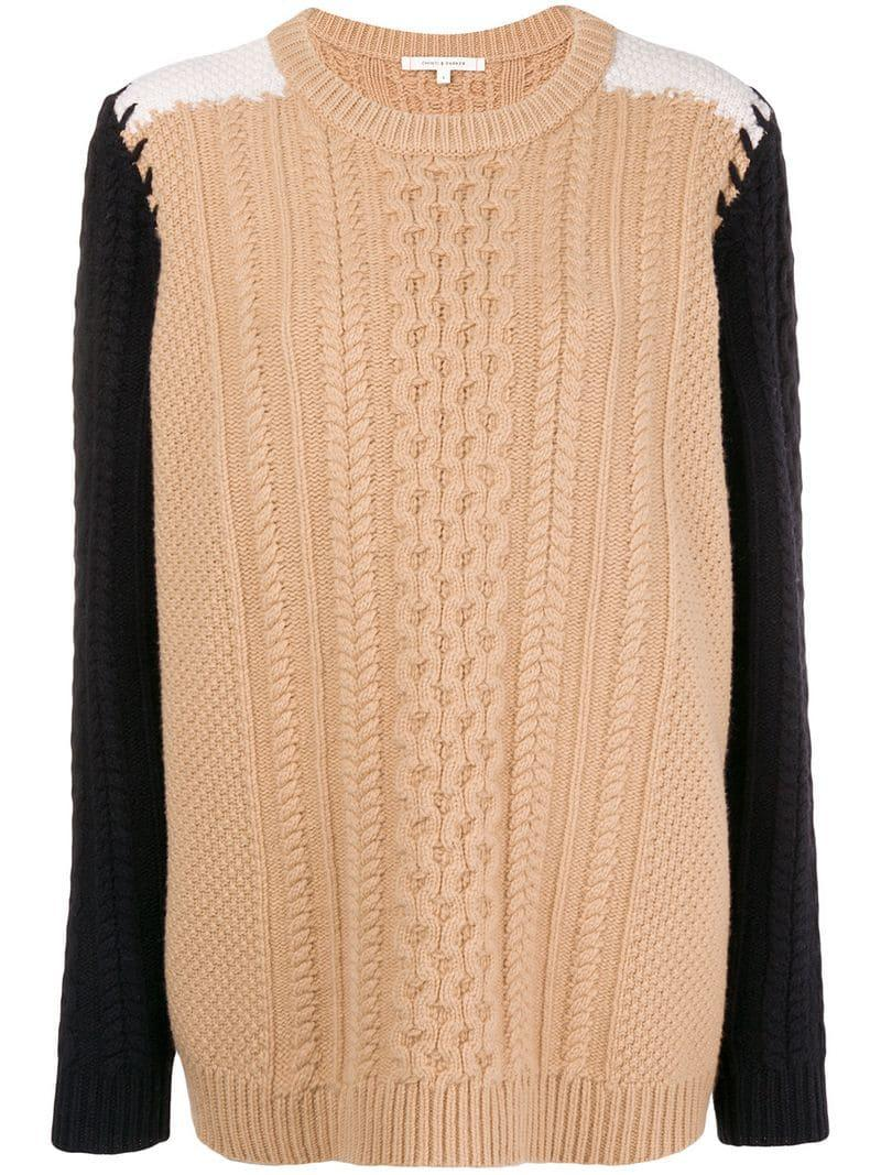 8adaa0520cd Chinti   Parker Contrast Sleeve Aran Knit Sweater - Brown