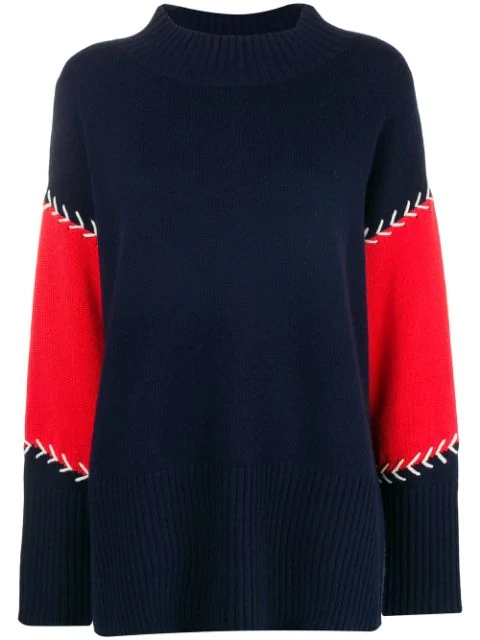 d0af723b36 Chinti & Parker Contrast Stitch Panelled Sweater - Blue