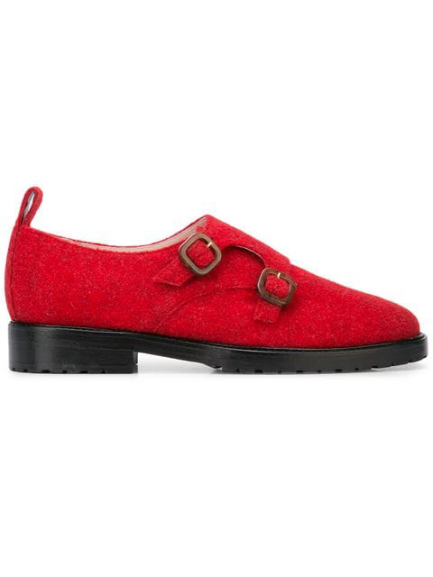 Leandra Medine Textured Buckle Brogues In Red