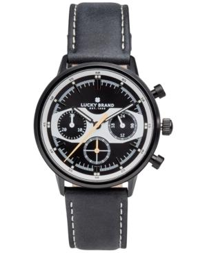 Lucky Brand Men's Chronograph Fairfax Racing Black Leather Strap Watch 40Mm