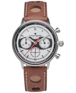 Lucky Brand Men's Chrnongraph Fairfax Racing Tan Perforated Leather Strap Watch 40Mm In Silver