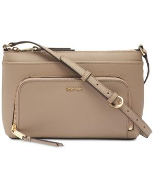 Calvin Klein Lily Saffiano Leather Crossbody In Porcini/Gold