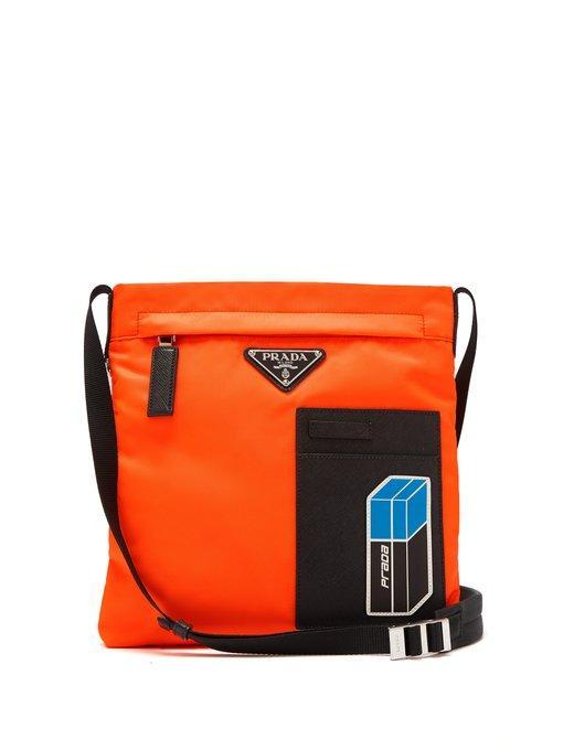 0dbfce8b267b Prada Logo-Plaque Nylon Cross-Body Bag In Orange Multi