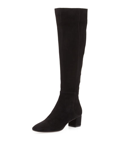 Gianvito Rossi Rolling Suede Over-The-Knee Boots In Black