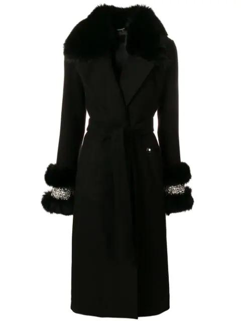 Philipp Plein Fox Fur Trim Coat In Black
