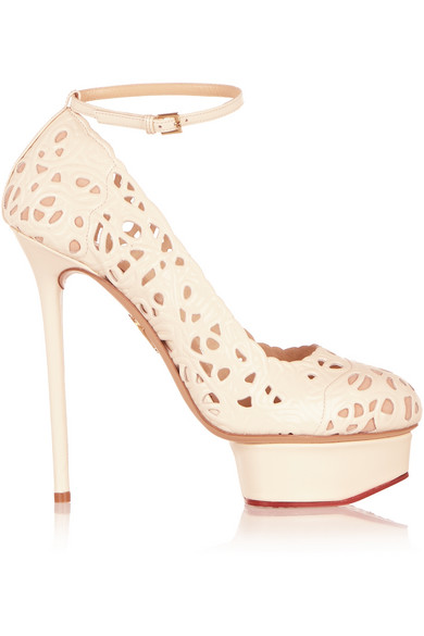 Charlotte Olympia Scribble Dolores Laser-Cut Leather Platform Pumps In White