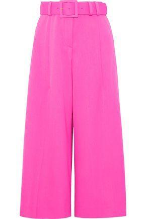 Oscar De La Renta Woman Cropped Belted Wool-Blend Twill Wide-Leg Pants Bright Pink