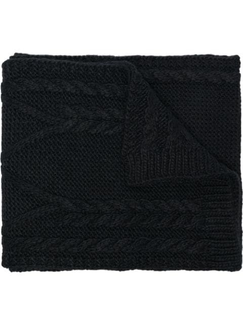 Moncler Black Woven Wool Scarf