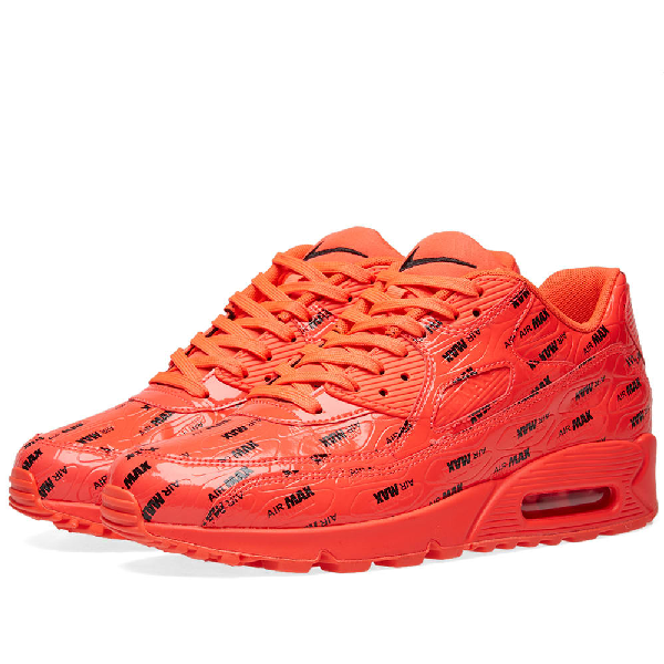 on sale ed134 37926 Nike Air Max 90 Premium Black And Red Leather Sneaker In Orange