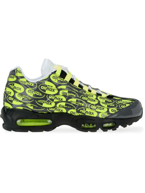 Nike Air Max 95 Grey Leather Sneaker With Fluo Print. In Black ...