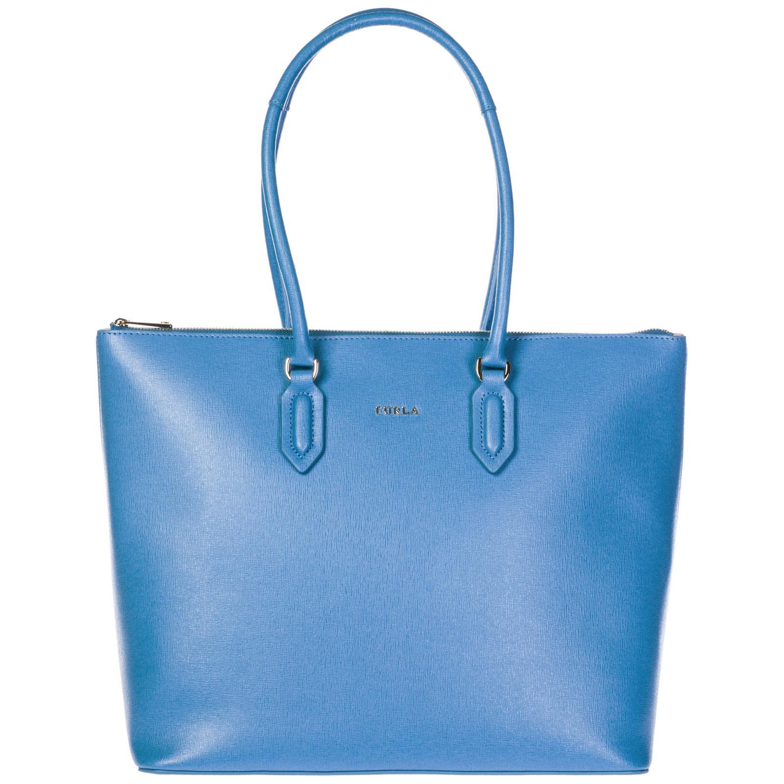 Furla Women's Leather Shoulder Bag Pin In Blue