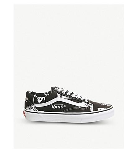 Vans Old Skool Suede And Canvas Trainers In Black White Logo