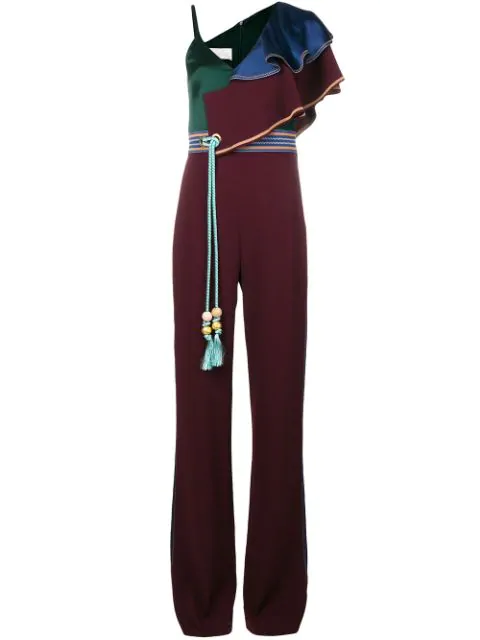 Peter Pilotto Belted Cady Jumpsuit In Pink