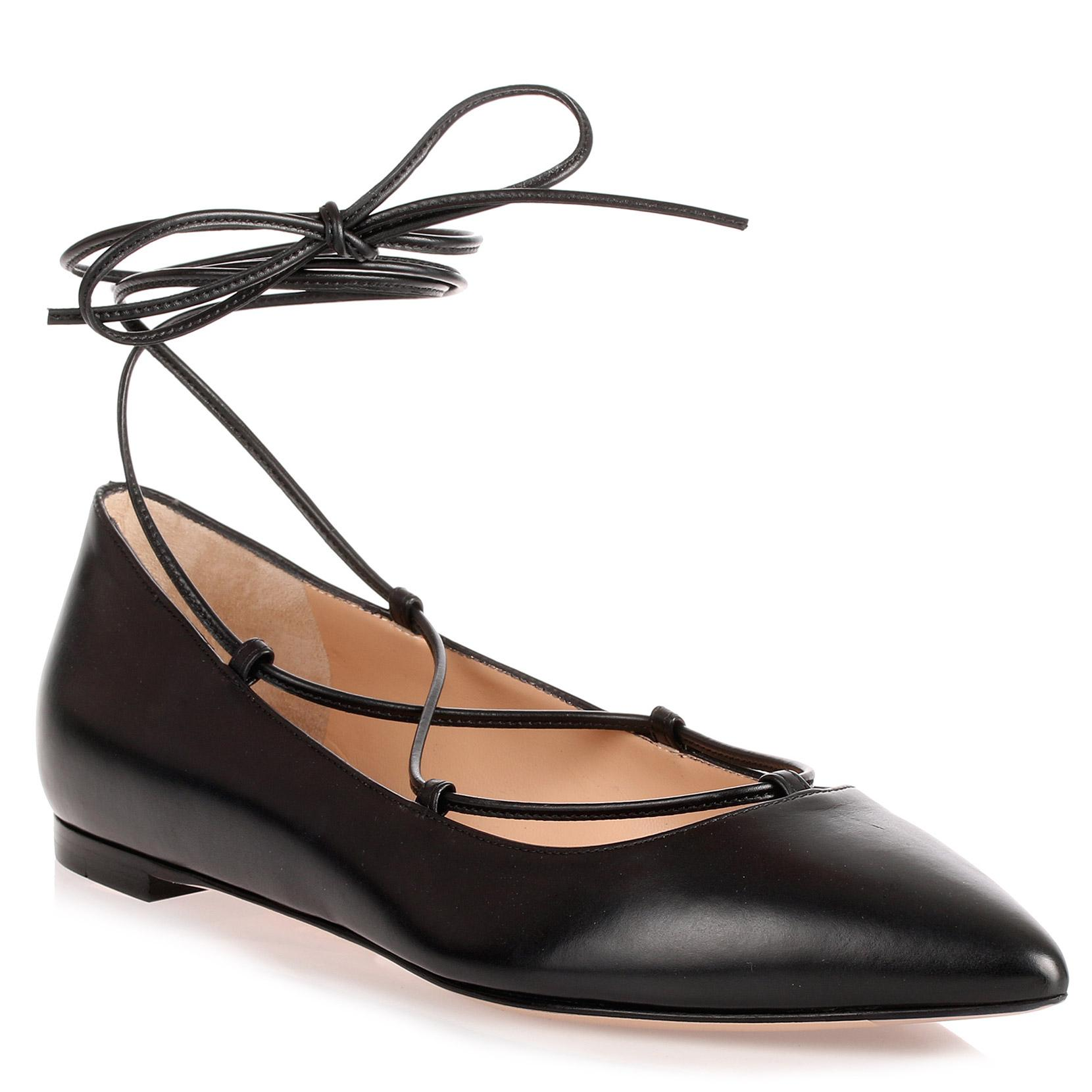 Gianvito Rossi Black Leather Lace Up Femi' Flat