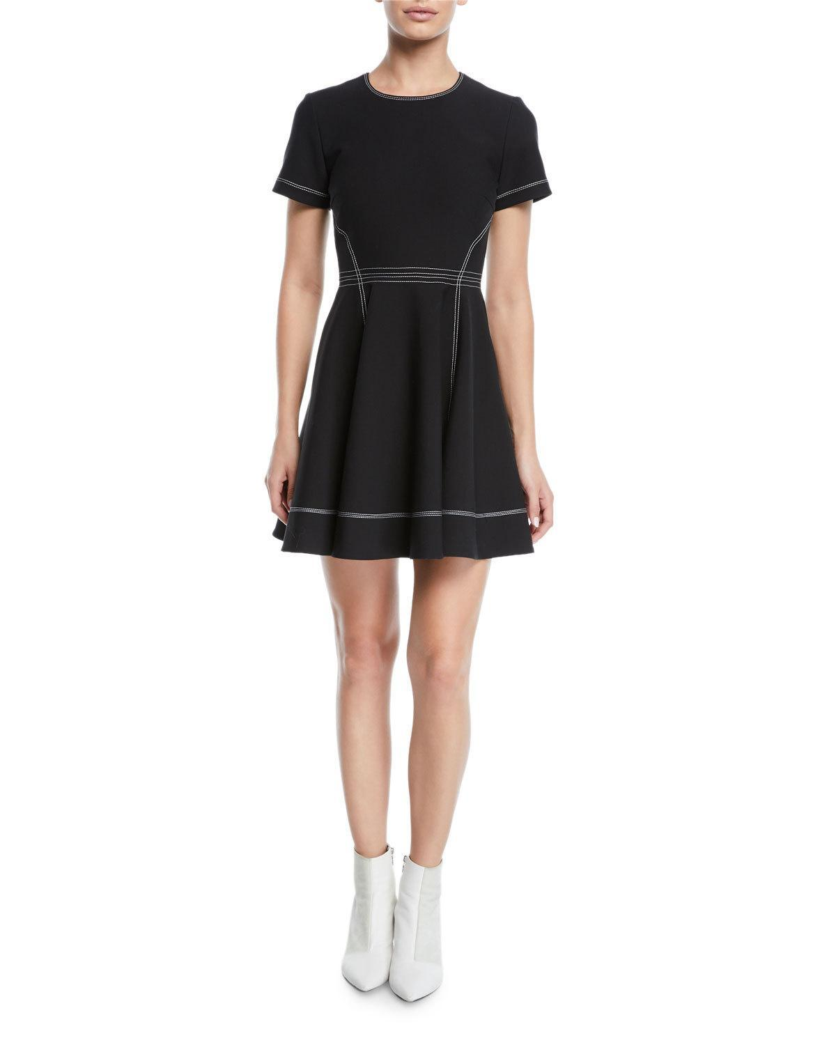 Cinq À Sept Bryce Short Sleeve Fit-and-flare Dress In Black