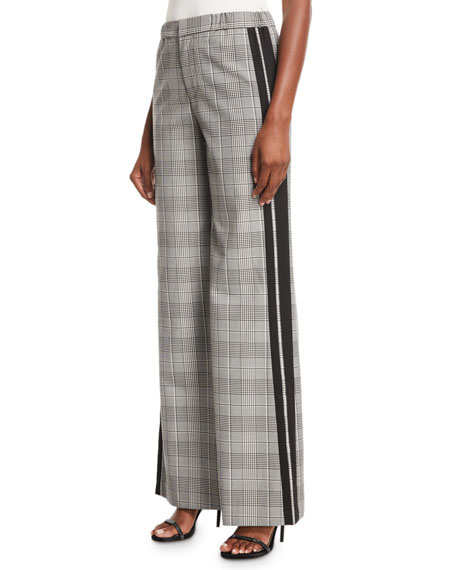 Alice And Olivia Alice + Olivia Bo Track Stripe Plaid Wide-Leg Pants In Black