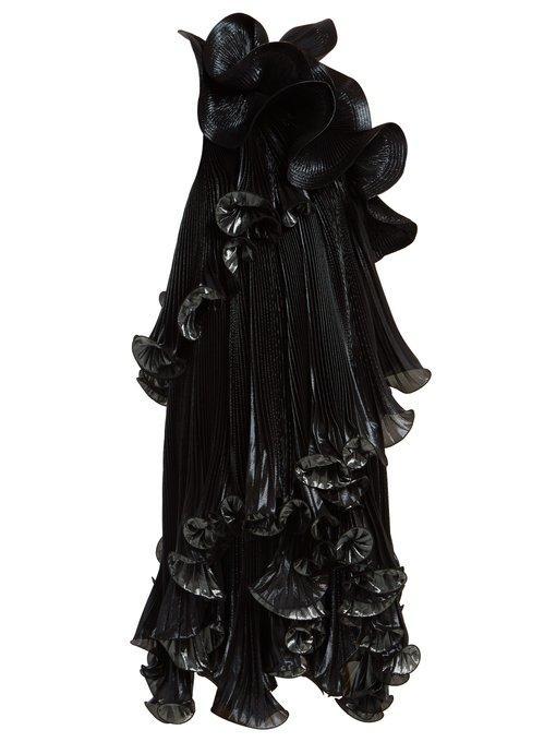 Givenchy One-Shoulder Ruffled Lurex Silk-Blend Dress In Black Green