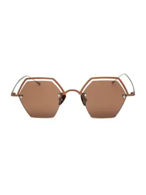 Smoke X Mirrors The Line 47Mm Hexagonal Sunglasses In Matte Brown